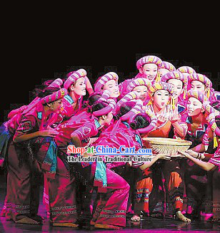 Chinese Ethnic Stage Performance Dancing Costumes and Hat for Womn