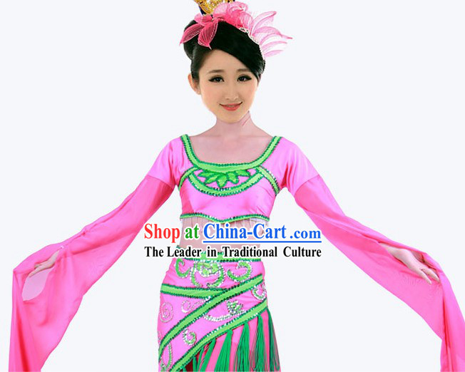 Professional Gu Dian Long Sleeves Dance Costumes and Headgear for Women