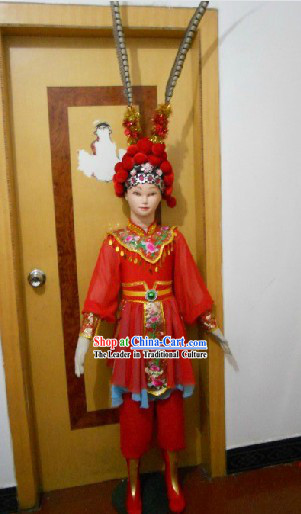 Beijing Opera Style Stage Performance Heroine Costumes and Headwear Complete Set for Children
