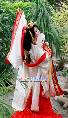 Ancient China Princess COS Costumes and Hair Accessories Complete Set