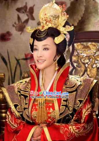 Wu Zetian Tang Dynasty Female Emperor Costumes and Headdress for Women