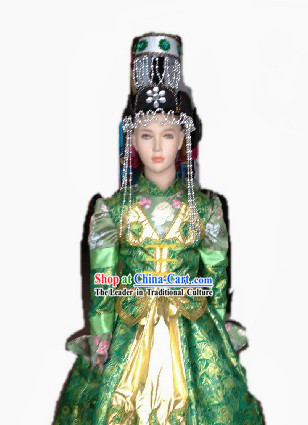 Traditional Chinese Mongolian Wedding Dress and Hat Complete Set