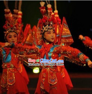 Chinese Opera Stage Performance Dancing Costumes Complete Set for Children