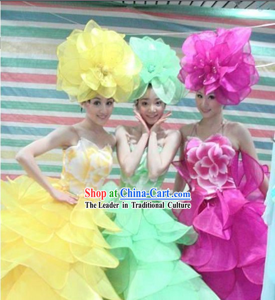 Stage Performance Flower Dance Costumes Complete Set for Women