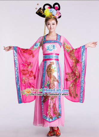 Ancient Chinese Classical Tang Dynasty Empress Phoenix Dance Costumes and Headdress Complete Set