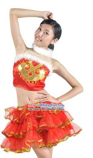 Chinese Lunar New Year Festival Celebration Dance Costumes Complete Set for Women