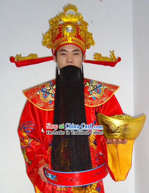 Chinese Lunar New Year Cai Shen Ye Costume for Adult