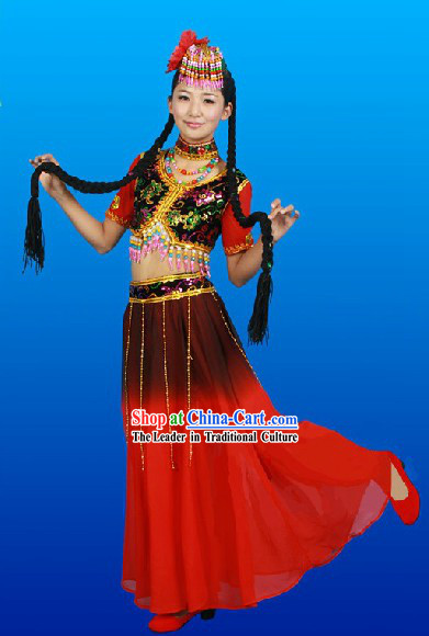 Traditional Chinese Xinjiang Dance Outfit and Hat Complete Set for Women