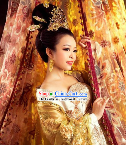 Ancient Chinese Imperial Royal Palace Princess Clothing and Headwear Complete Set