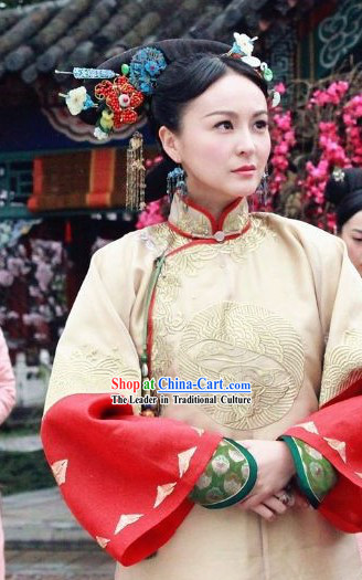 White Qing Dynasty Imperial Palace Concubine Robe for Women
