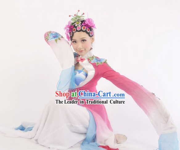 Long Sleeves Chinese Classic Dance Costumes and Headdress Complete Set for Women