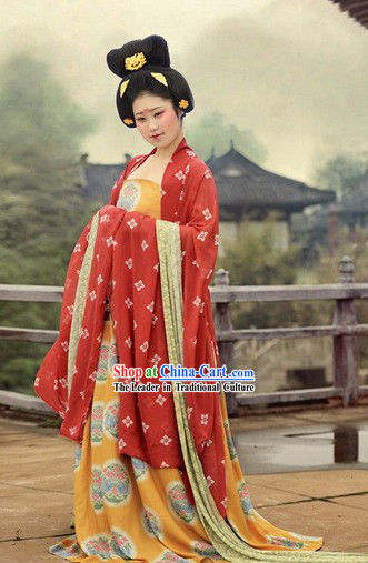 Ancient Chinese Tang Dynasty Female Clothing and Hair Accessories Set for Women