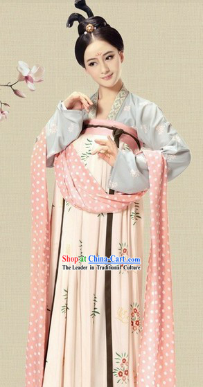 Ancient China Tang Dynasty Female Chinese Hanfu Clothing Complete Set for Women