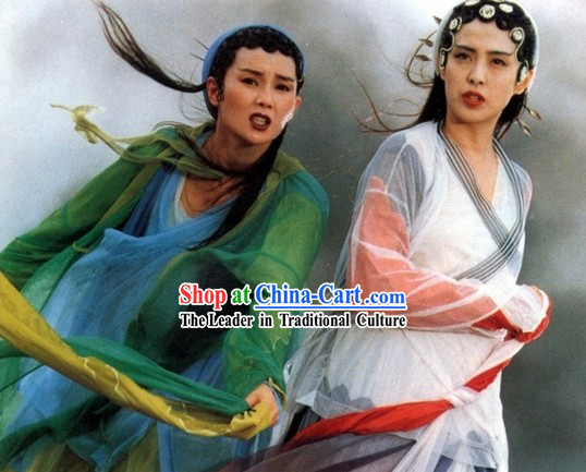 Green Snake Chinese Ancient Fairytale Bai Suzhen and Xiao Qing Costumes and Hair Accessories