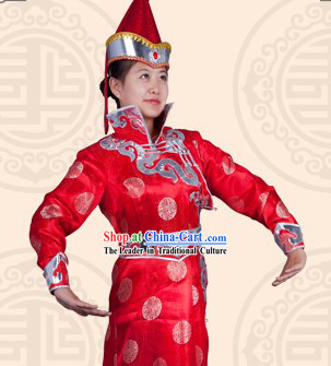 Traditional Chinese Mongolian Stage Performance Dance Costumes and Hat Complete Set for Women