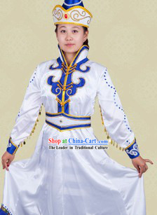 Traditional Chinese Mongolian White Stage Performance Dance Costume and Hat for Women