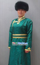 Traditional Chinese Mongolian Daily Clothing and Hat Complete Set for Women