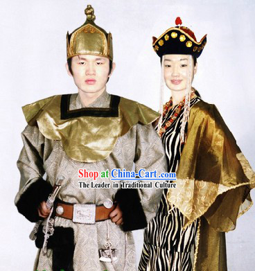 Traditional Mongolian Prince and Princess Costumes and Hats Two Complete Sets