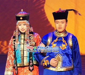 Traditional Mongolian Husband and Wife Clothes and Hats Two Complete Sets
