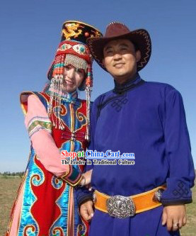 Traditional Mongolian Husband and Wife Clothing and Hats Complete Sets