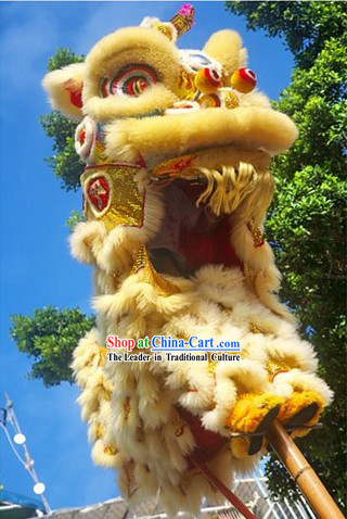 Beige Color Competition Celebration and Parade Supreme Lion Dance Costumes Complete Set
