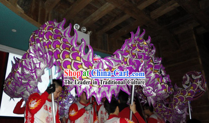 Purple Chinese Lunar New Year Dragon Dance Performance Costumes Complete Set
