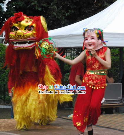 Chinese Year Northern Lion Dance Costume and Leading Dancer Costume Complete Set