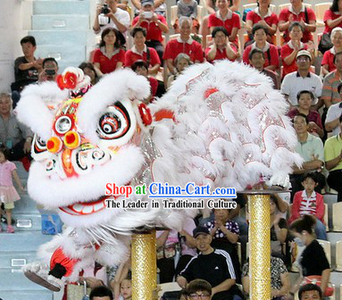 White Fur Chinese Year Southern Professional Hok San Lion Dance Costumes