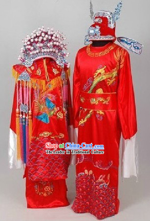 Traditional Chinese Wedding Dresses and Hats for Brides and Bridegrooms