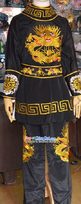 Chinese Opera Black Mask Changing Embroidered Dragon Costumes
