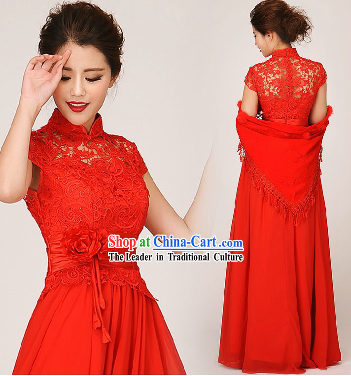 Traditional Red Lace Cheongsam Wedding Dress for Brides