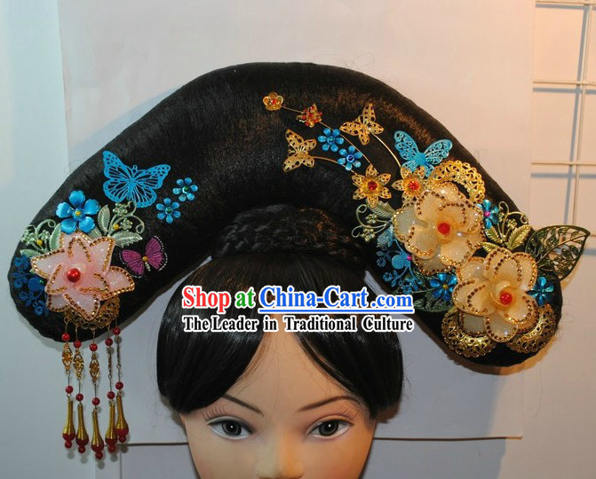 Qing Dynasty Chinese Imperial Princess Wig and Hair Accessories Set for Women