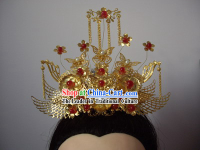 Ancient Chinese Classic Handmade Wedding Butterfly Phoenix Helmet