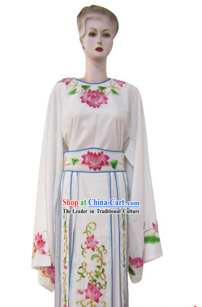 White Chinese Peking Opera Embroidered Lotus Costumes