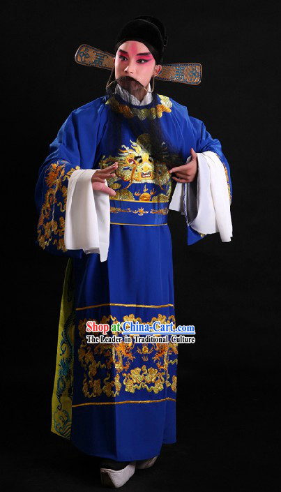 Traditional China Peking Opera Official Costume and Hat for Men