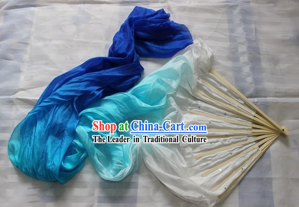 Handmade White to Blue Colour Transition Long Silk Dance Fan