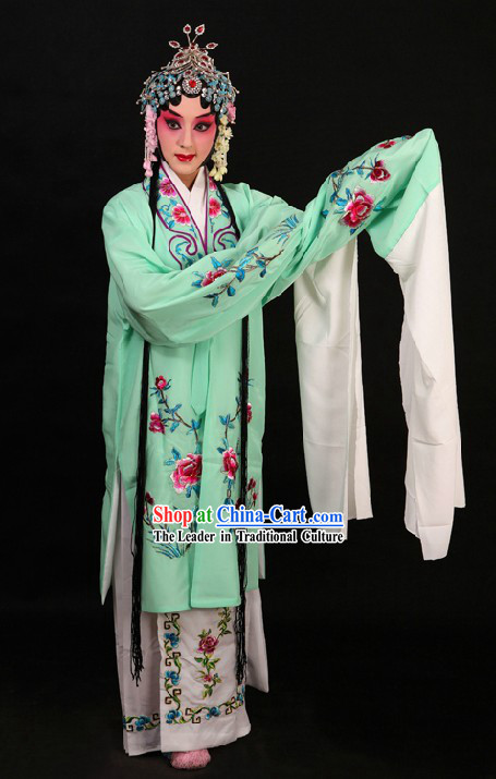 Light Green Peking Opera Huadan Long Sleeve Costumes and Skirt for Women