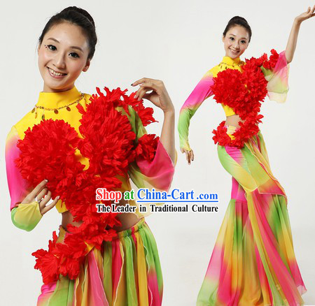 Traditional Chinese Ribbon or Fan Dance Clothes and Headpiece for Women