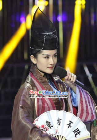Ancient Chinese Dong Fang Bu Bai Kung Fu Master Costumes and Hat for Men