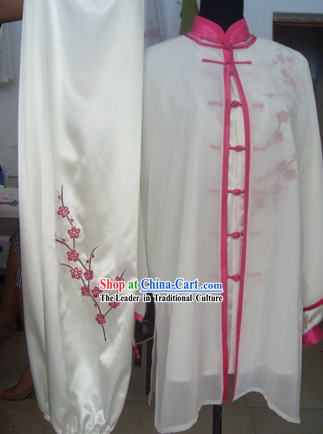 Traditional Chinese White Plum Blossom Silk Tai Chi Uniform and Cape Complete Set