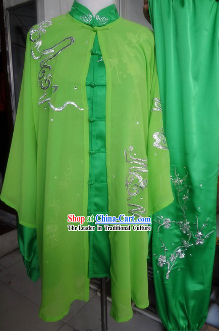 Traditional Chinese Green Tai Ji Kung Fu Performance Uniform and Cape Complete Set