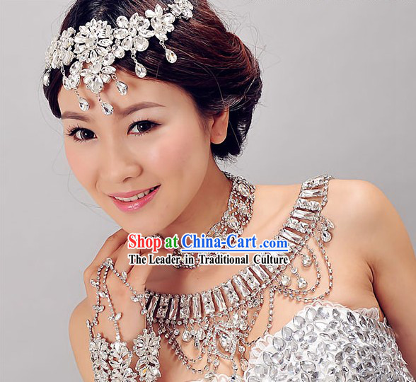 Chinese Classic Bridal Wedding Hair Accessories, Necklace and Hands Accessories Complete Set