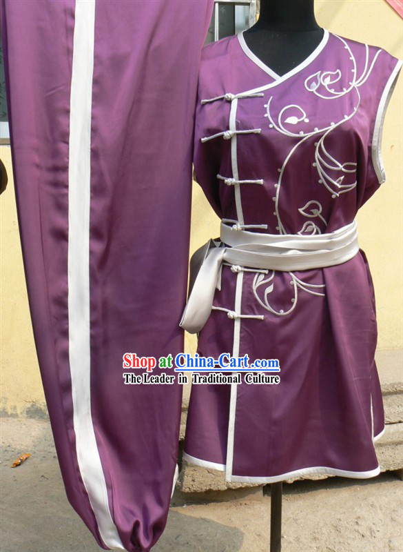 Purple Chinese Embroidery Tai Ji and Martial Arts Southern Fist Nan Quan Competition Outfit