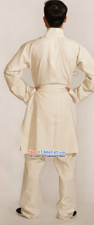 Ancient Chinese Han Dynasty Flax Clothing Complete Set for Men