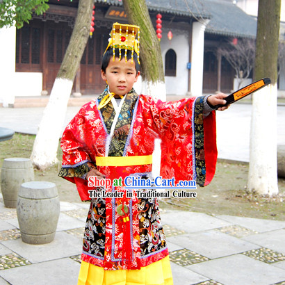 Qin Dynasty Qin Chao Qin Shi Huang First Emperor of Qin Costume and Hat for Children