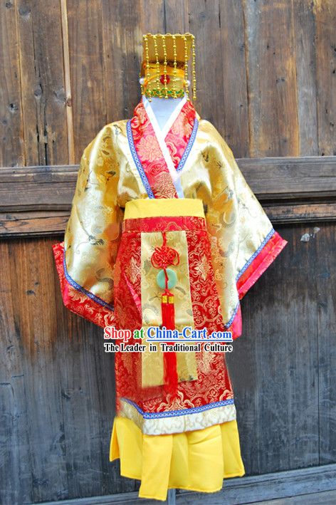 Ancient Chinese Emperor Costume and Hat for Children