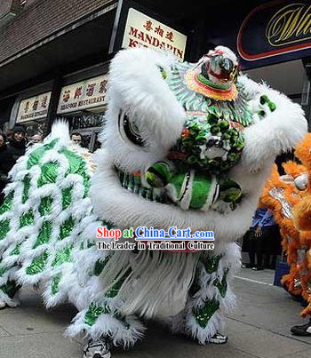 Traditional Chinese White Wool Green Sequins Festival Celebration Lion Dancing Costume Complete Set