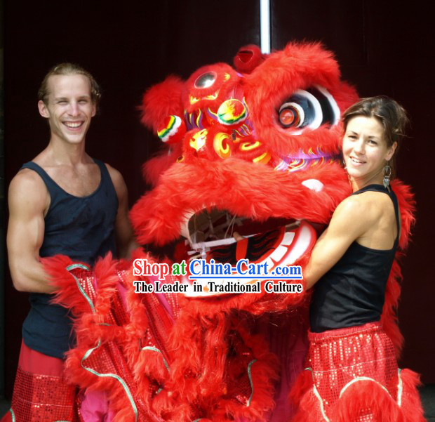 Red Standard Competition Wu Shi Lion Dance Costumes Complete Set