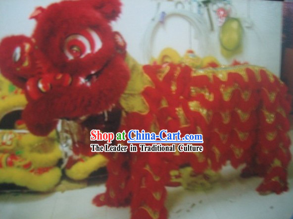 Red Chinese Festival Lion Dancer Costume Complete Set