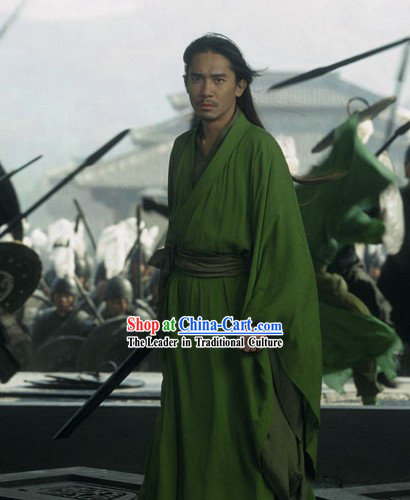 Chinese Qin Dynasty Period Liang Chaowei Tony Leung Chiu Wai Green Han Clothing in Film Hero for Men